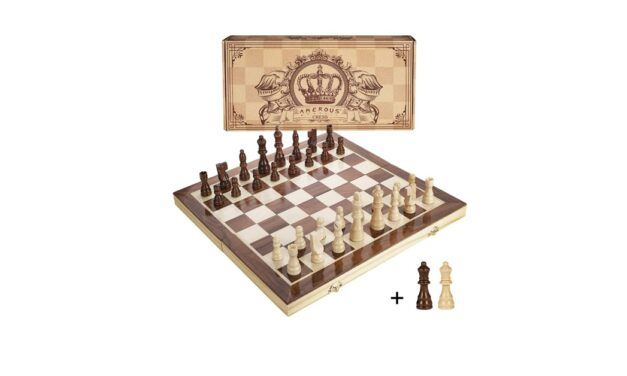 Amerous 15 Inch Magnetic Wooden Chess Set